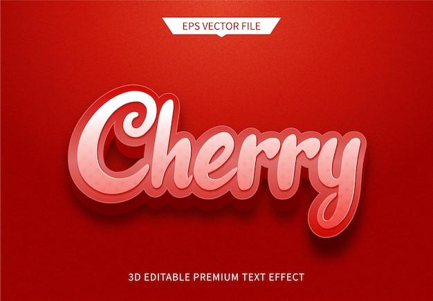 Effet de style de texte modifiable en 3d cerise rouge