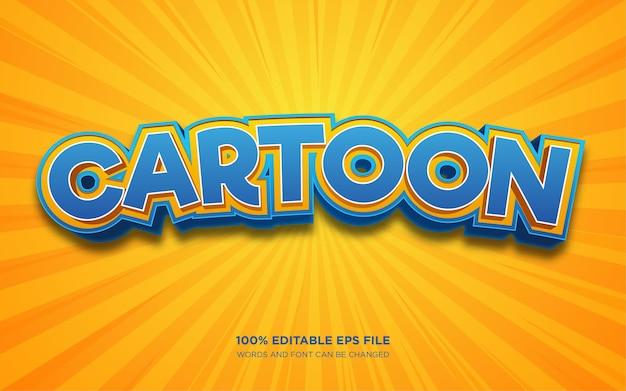 Effet de style de texte modifiable 3d de dessin animé