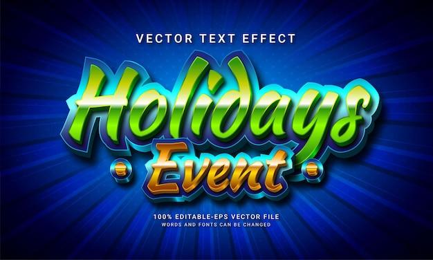 Effet de style de texte modifiable en 3d d'événement de vacances