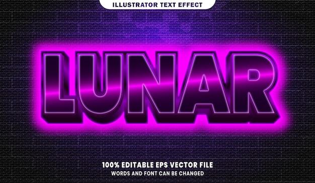 Effet de style de texte modifiable 3d lunaire