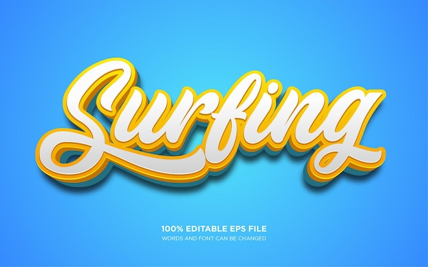 Effet de style de texte modifiable en 3d de surf