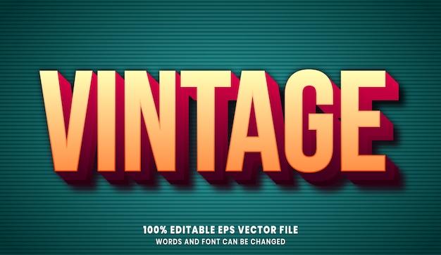 Effet de style de texte modifiable 3d vintage