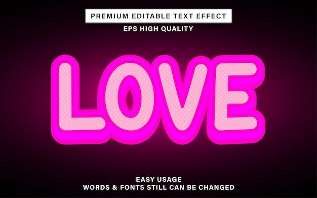 Effet de style de texte modifiable amour mignon