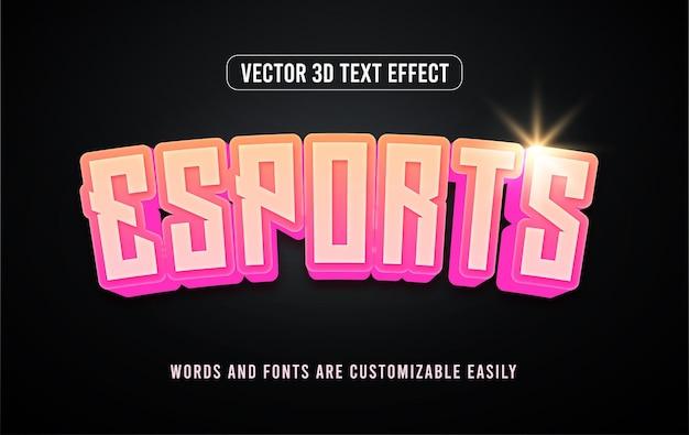 Effet De Style De Texte Modifiable Au Néon 3d Pour Les Jeux Esports Vecteur Premium