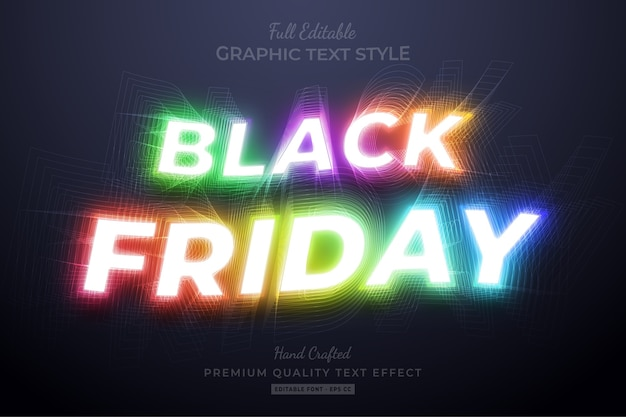 Effet de style de texte modifiable black friday
