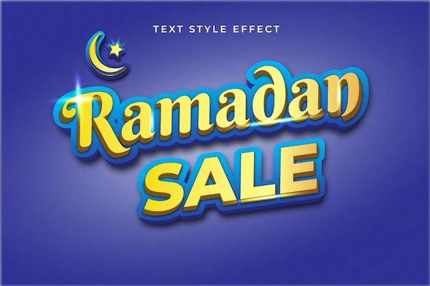 Effet de style de texte modifiable bleu et or de vente de ramadan