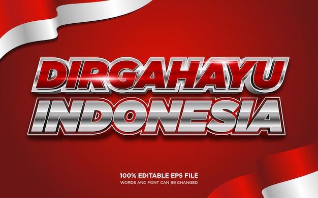 Effet de style de texte modifiable dirgahayu indonésie merdeka 3d