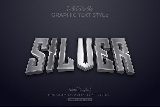 Effet de style de texte modifiable élégant argent premium