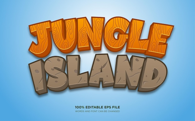 Effet de style de texte modifiable jungle island
