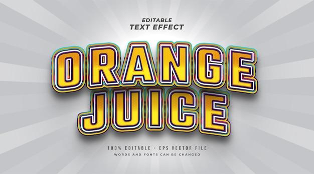 Effet de style de texte modifiable de jus d'orange