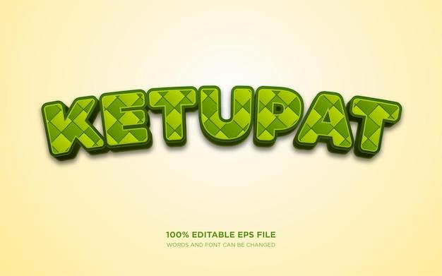Effet de style de texte modifiable ketupat 3d