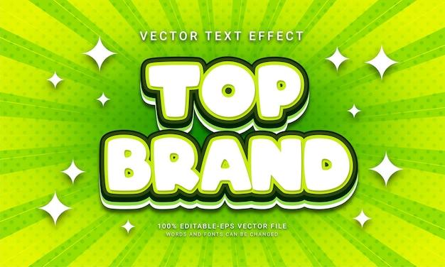 Effet de style de texte modifiable de la meilleure marque avec la couleur verte