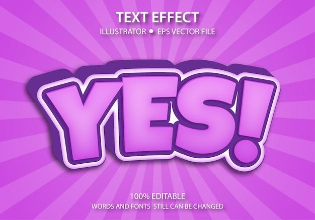 Effet de style de texte modifiable mignon oui