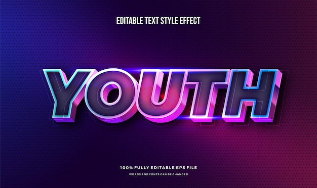 Effet de style de texte modifiable moderne couleur moderne vibrante brillante.