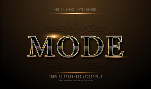 Effet de style de texte modifiable moderne de texte de réflexion de luxe d'or