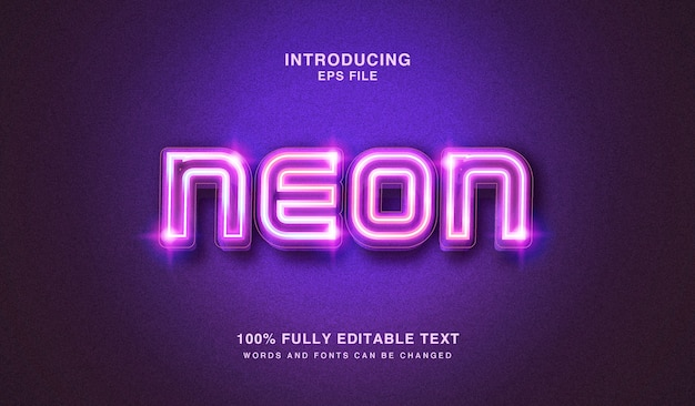 Effet de style de texte modifiable modifiable de néons lumineux
