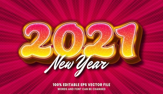 Effet de style de texte modifiable de nouvel an