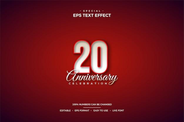 Effet de style de texte modifiable avec un numéro 20 rouge.