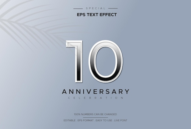Effet de style de texte modifiable avec les numéros du 10e anniversaire