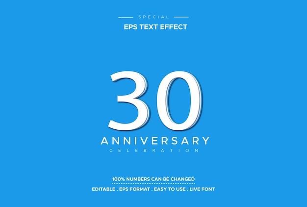 Effet de style de texte modifiable avec les numéros du 30e anniversaire