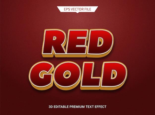 Effet de style de texte modifiable en or rouge 3d