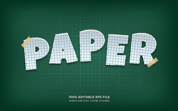 Effet de style de texte modifiable paper cut