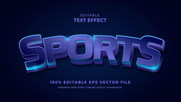Effet De Style De Texte Modifiable Pour Le Sport Vecteur Premium