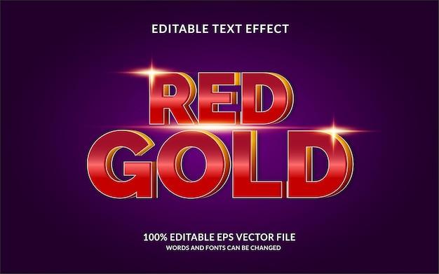 Effet de style de texte modifiable rouge et or