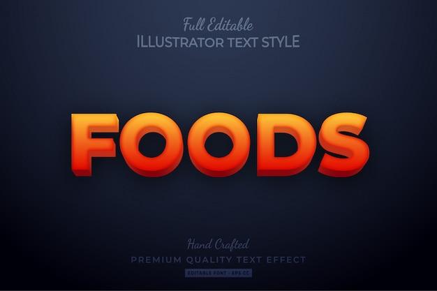 Effet de style de texte modifiable spicy foods premium