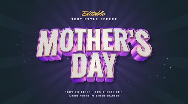 . effet de style de texte modifiable texte de la fête des mères dans un style coloré et métallique avec effet en relief