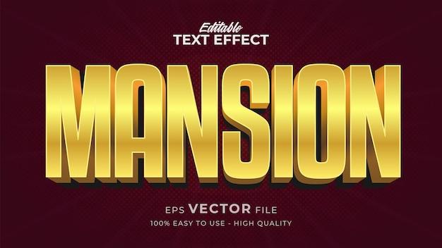 Effet de style de texte modifiable - thème de style de texte gold mantion