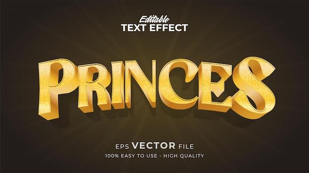 Effet de style de texte modifiable - thème de style de texte gold princes