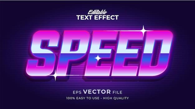 Effet de style de texte modifiable - thème de style de texte speed tech retro