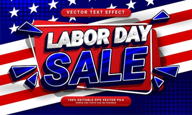 Effet de style de texte modifiable de vente de la fête du travail adapté à la promotion des ventes lors de la célébration de la fête du travail
