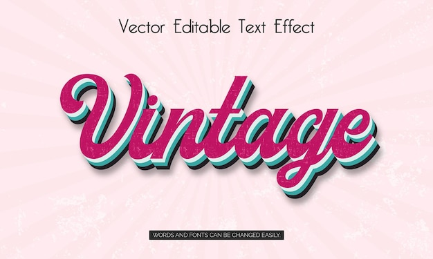 Effet de style de texte modifiable vintage