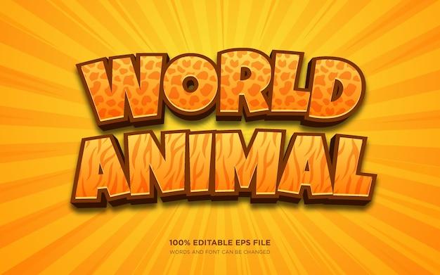 Effet de style de texte modifiable world animal 3d