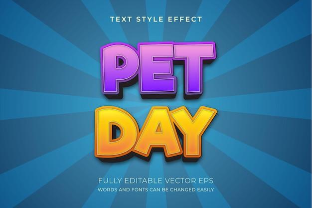 Effet de style de texte multicolore modifiable pour le jour des animaux de compagnie