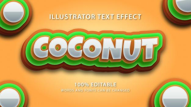 Effet de style de texte de noix de coco, texte éditable