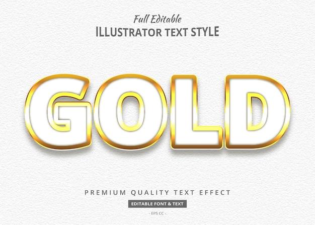 Effet de style de texte en or blanc 3d