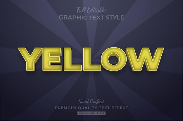 Effet de style de texte personnalisé modifiable jaune premium
