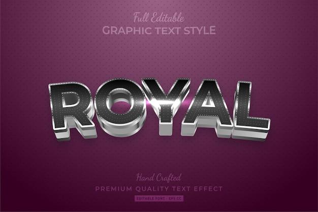 Effet de style de texte personnalisé modifiable royal silver premium