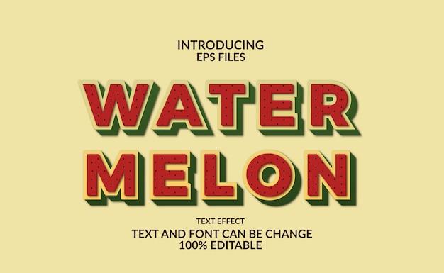 Effet de style de texte et de police modifiable de melon d'eau audacieux. fruits tropicaux et jus