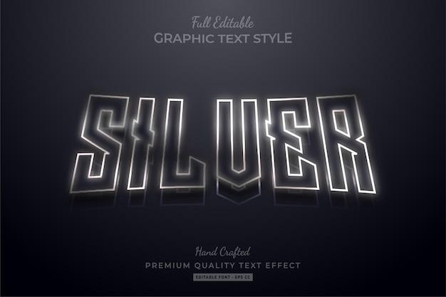 Effet de style de texte premium modifiable de contour argenté