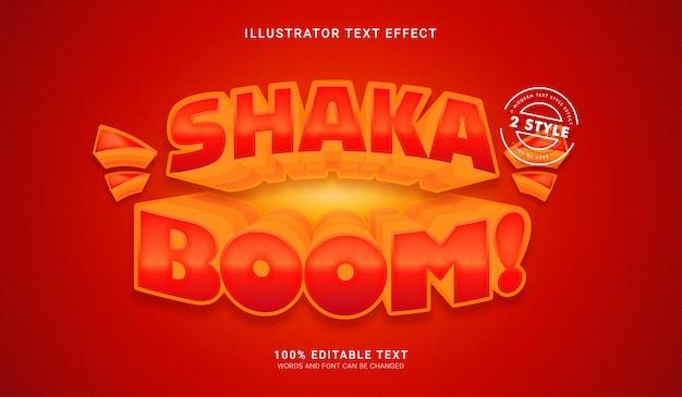 Effet de style de texte shaka boom. effet de texte modifiable