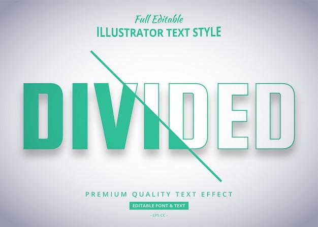 Effet de style de texte tendance divisée