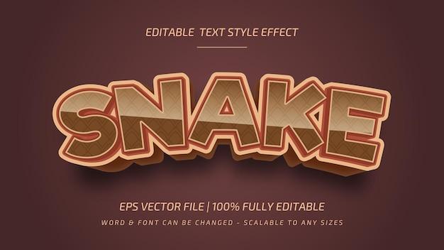 Effet de style de texte vectoriel 3d modifiable de serpent. style de texte d'illustrateur modifiable.