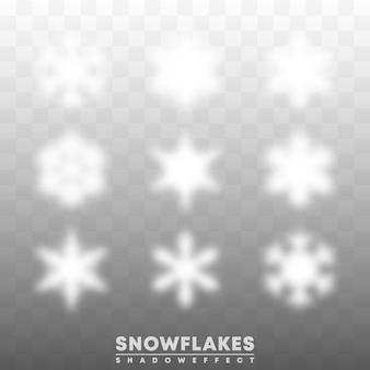 Effet de superposition d'ombres de flocons de neige