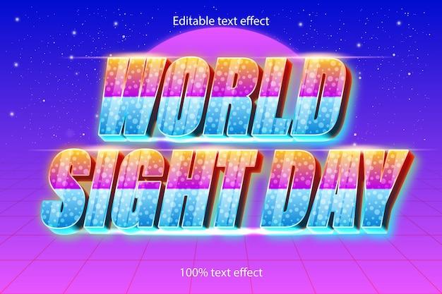 Effet tet modifiable de la journée mondiale de la vue rétro avec un style moderne