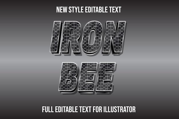 Effet de texte 3d abeille de fer en dégradé argent et noir