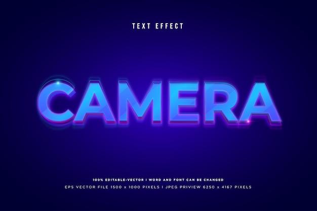 Effet de texte 3d de l'appareil photo sur fond bleu